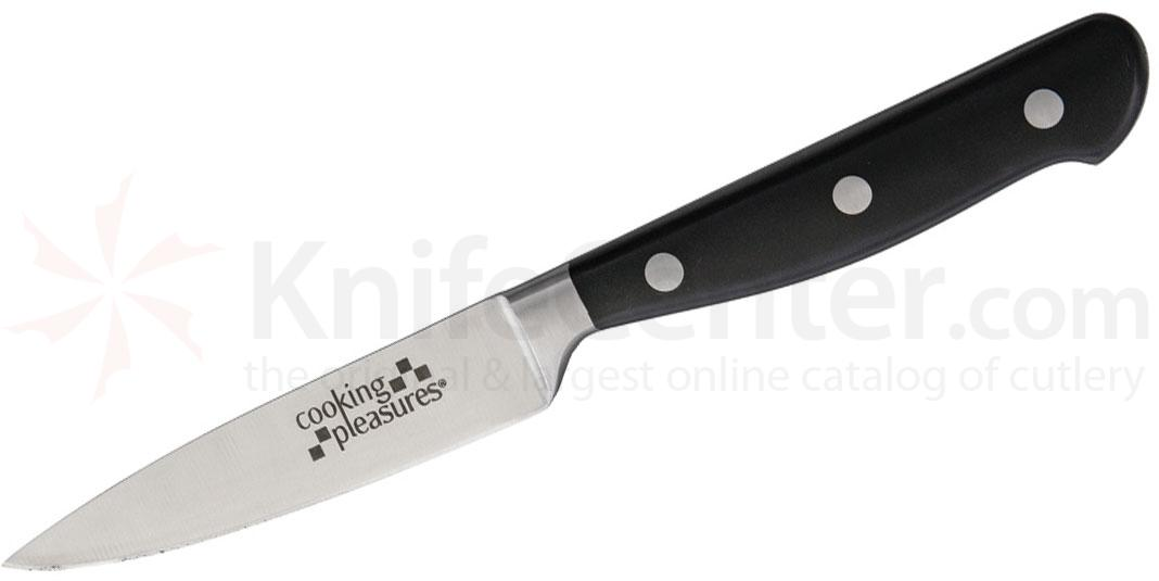 Cooking Pleasures 3.75 inch Paring Knife, Black Synthetic Handles