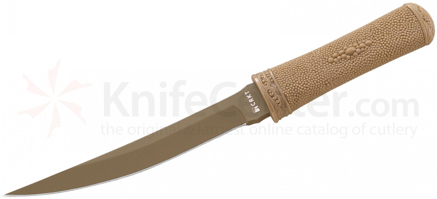 Columbia River 2907D Hissatsu Fixed 7.125 inch Tan Blade, Glass Filled Nylon Handle