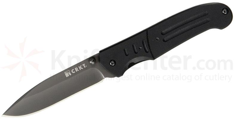 Columbia River 6860 Ignitor T Assisted Folder 3.38 inch Gray Plain Blade, Black G10 Handles
