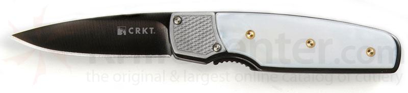 Columbia River Kommer Mini Fulcrum 2.19 inch Black Plain Blade, White Pearlescent CPL Scales