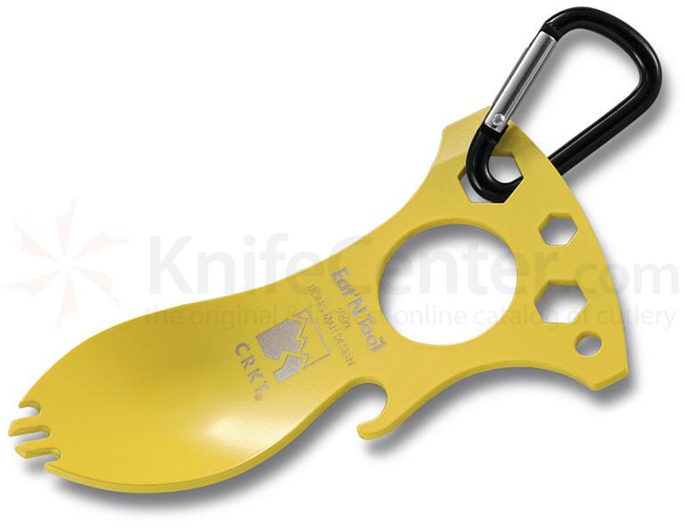 Columbia River 9100YC Eat'N Tool (Yellow), Spoon, Fork, Bottle Opener, Screwdriver/Pry Tip, Wrenches, Carabiner