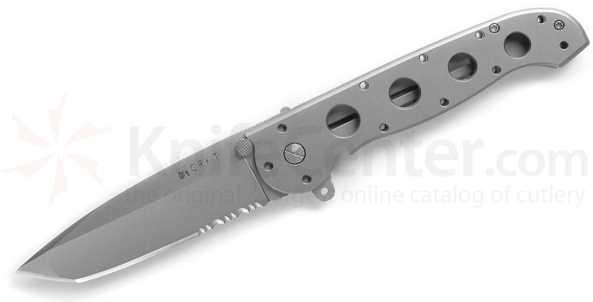 Columbia River M16-14T Big Dog Folding Knife 3.875 inch Combo Tanto Blade, Titanium Handles