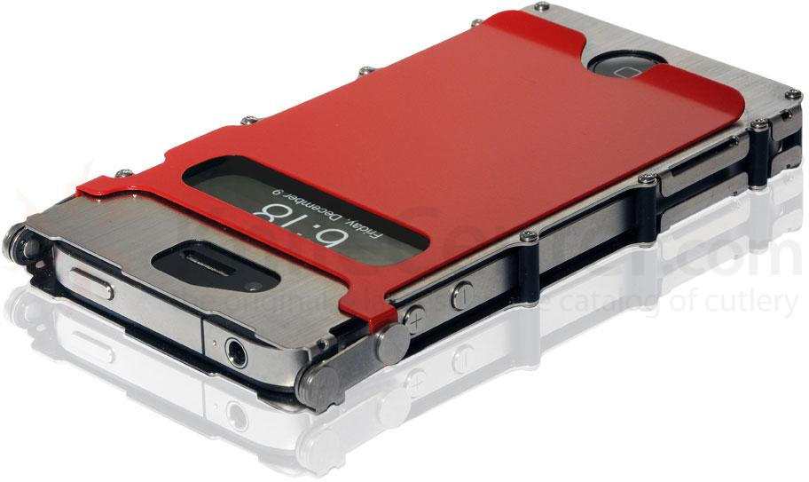 Columbia River iNoxCase 360 Degree Stainless Steel iPhone 4 or iPhone 4S Case, Red