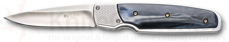 Columbia River Kommer Fulcrum 2.75 inch Satin Plain Blade, Gray/Black CPL Scales