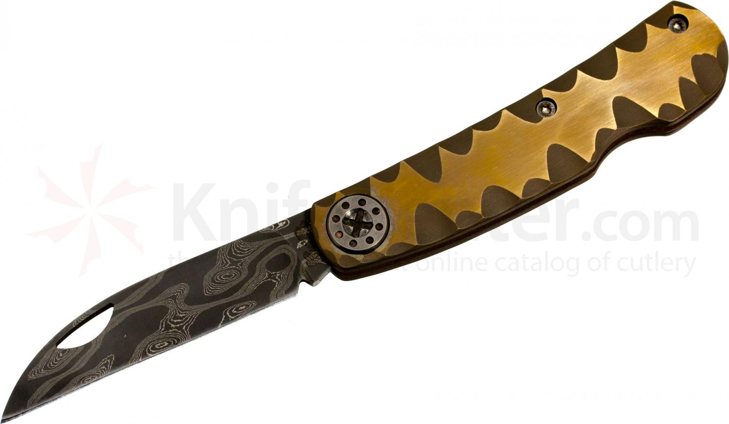 Curtiss Knives Swaytac Slipjoint 3 inch Chad Nichols Damascus Wharncliffe Blade, Carved Bronze Titanium Handle