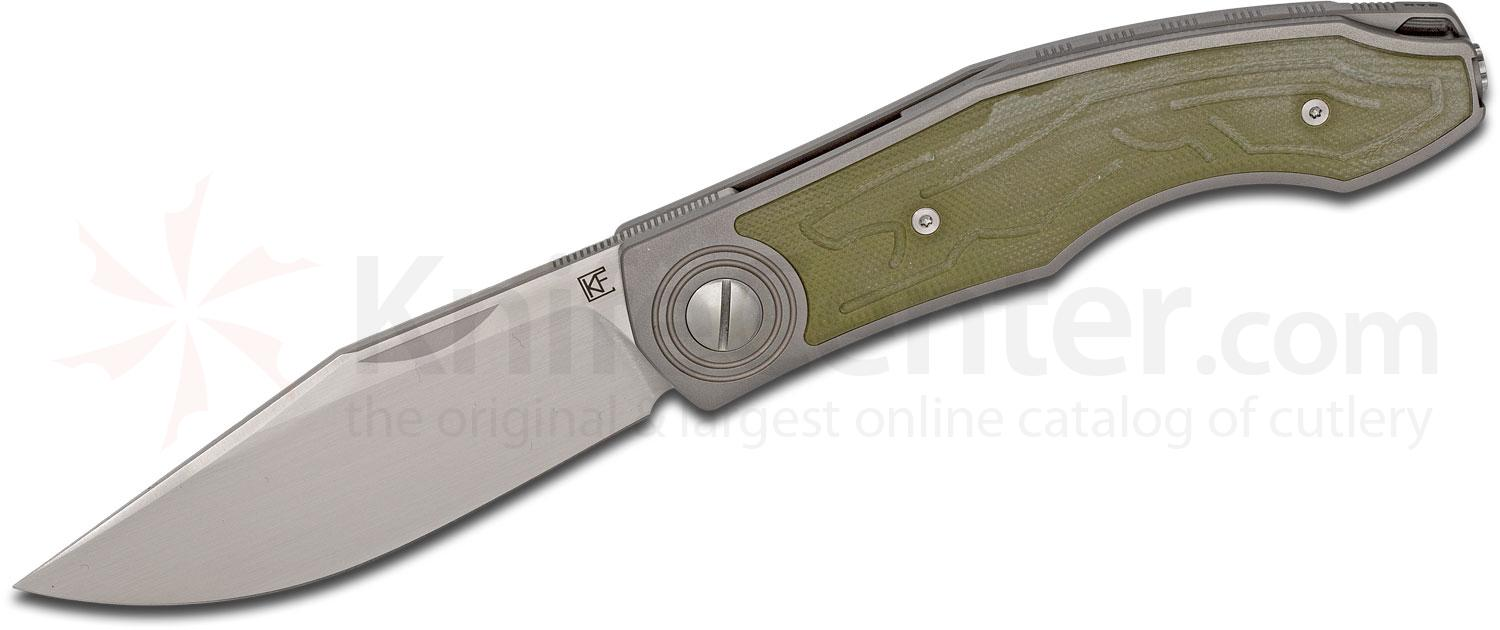 Custom Knife Factory Anton Malyshev Veksha (Belka) Folding Knife 3.62 inch M390 Clip Point Blade, Titanium Handles with Green G10 Inlays