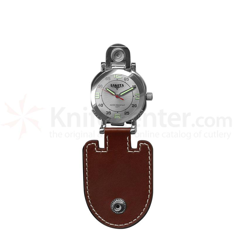 Dakota Watch Company Police Clip, Brown, silver Dial