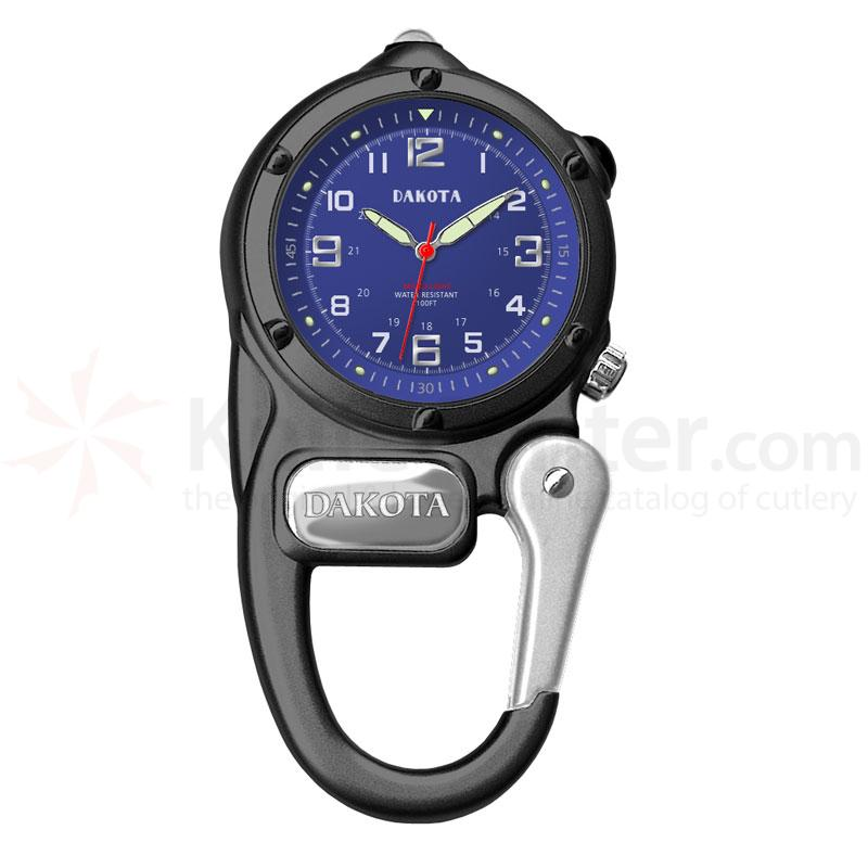 Dakota Watch Company Mini Clip Microlight, Blue Dial, Black Case