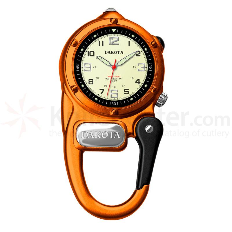 Dakota Watch Company Mini Clip Microlight, Cream Military Dial, Orange Case