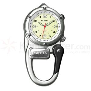 Dakota Watch Company Mini Clip Microlight, Cream Dial, Carabiner Clip