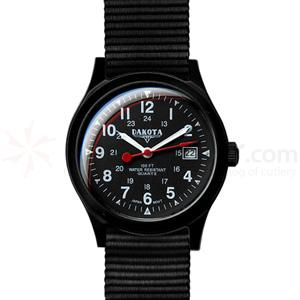 Dakota Watch Company Ultra Light Field, Black Mid-Sized Dial, Nylon Strap