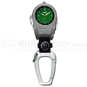 Dakota Watch Company Time Tool 7, Green Dial, Carabiner Clip