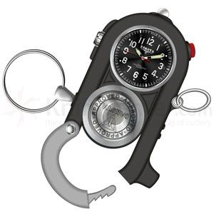 Dakota Watch Company Cuff Clip, Black Dial, Gray & Black Case, Carabiner Clip