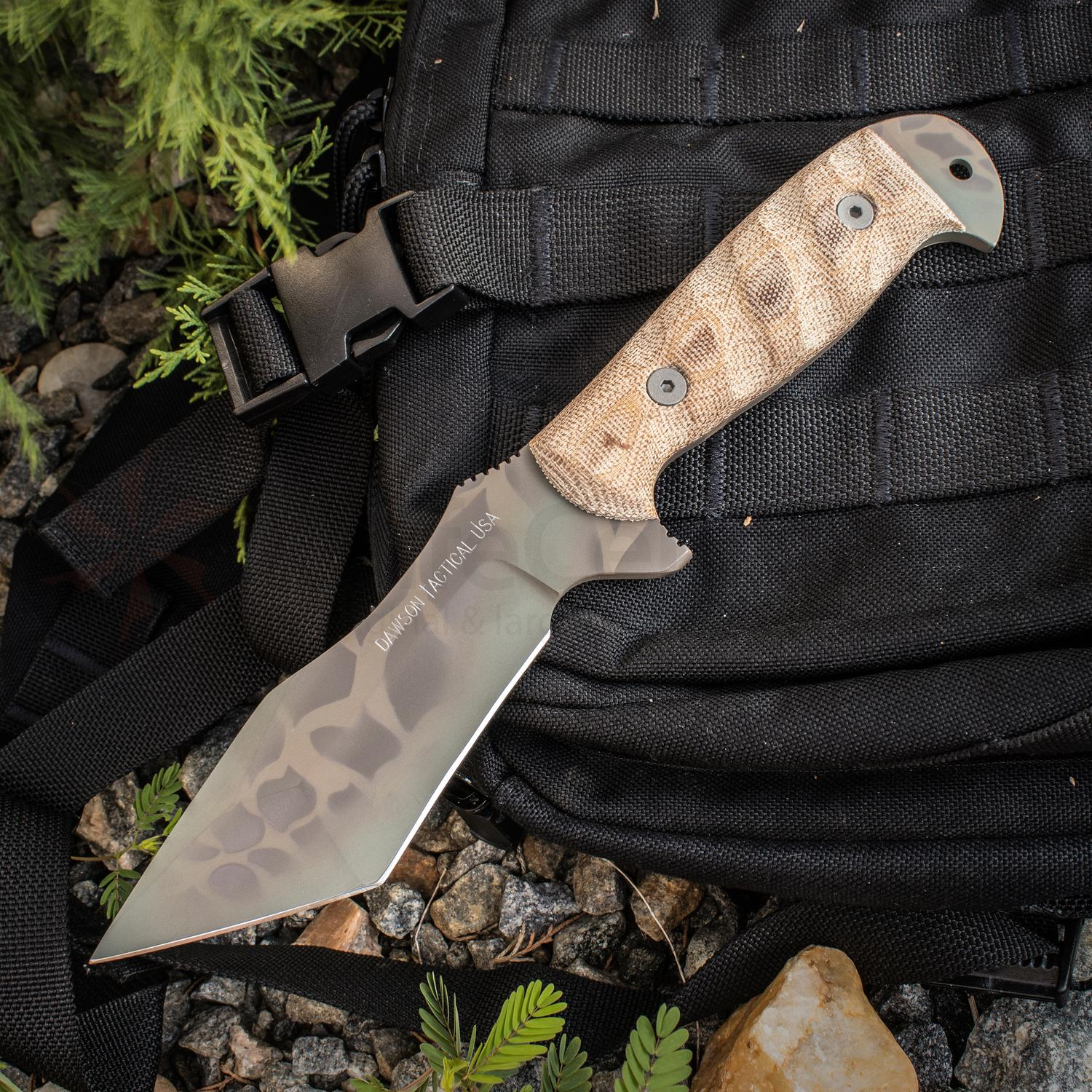 Dawson Knives Custom Wraith Fixed 5.25 inch 80CrV2 Sandstone Blade, Tan Micarta Handles, Highlander Kryptek Kydex Sheath