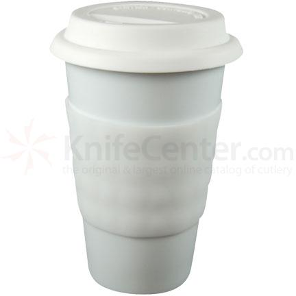 Decor Craft Eco Cup Porcelain Cup for Coffee and Tea, Silicone Lid and Sleeve