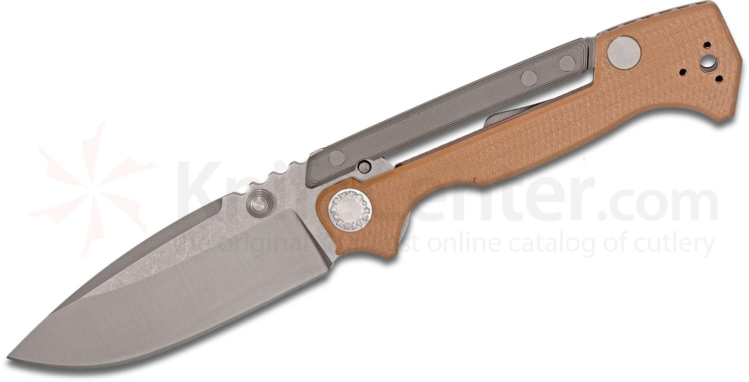 Andrew Demko Custom AD15 MG Folding Knife 3.75 inch CPM-S35VN Machine Ground Blade, Textured Coyote Brown G10 and Titanium Handles