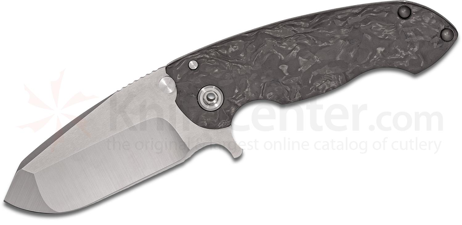 DireWare Custom SOLO Flipper 3.75 inch M390 Drop Point Blade, Marbled Carbon Fiber and Titanium Handles