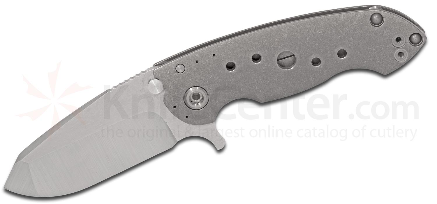 DireWare Custom SOLO Flipper 3.75 inch M390 Drop Point Blade, Tumbled Titanium Handles with Milled Holes