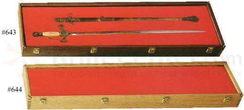 Walnut Wood Sword Display Case 12 inch x 42 inch x 4 inch