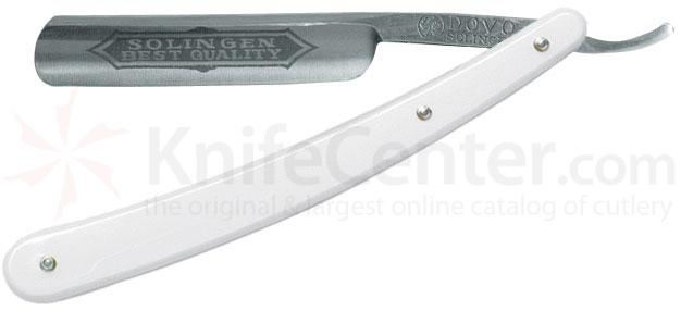 DOVO Straight Razor 5/8 inch Half Hollow Ground Blade, White Synthetic Handle (101587)
