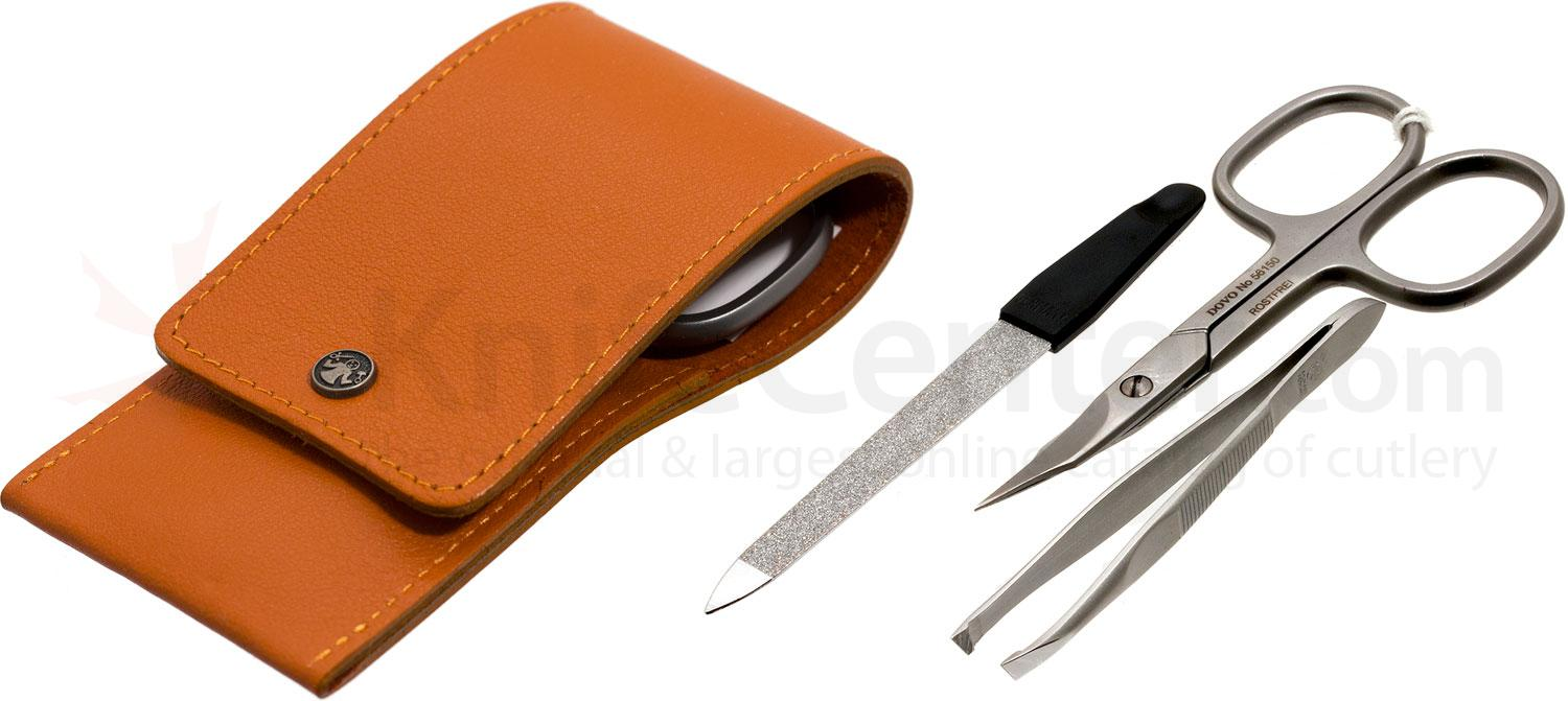 DOVO 3 Piece Manicure Set in Calf Leather Terracotta Case (1029076)