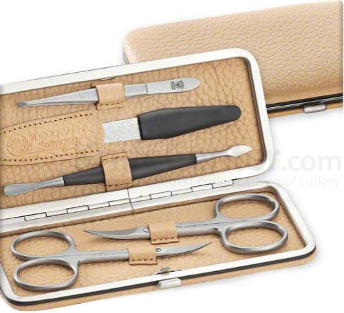DOVO 6006 066 Manicure Set, Beige Cowhide Case 5 Pieces in a Cowhide Case