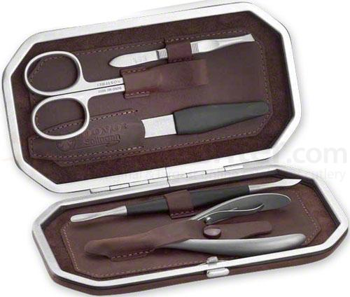 DOVO 5 Piece Ladies' Manicure Kit in Brown Cowhide Leather Case