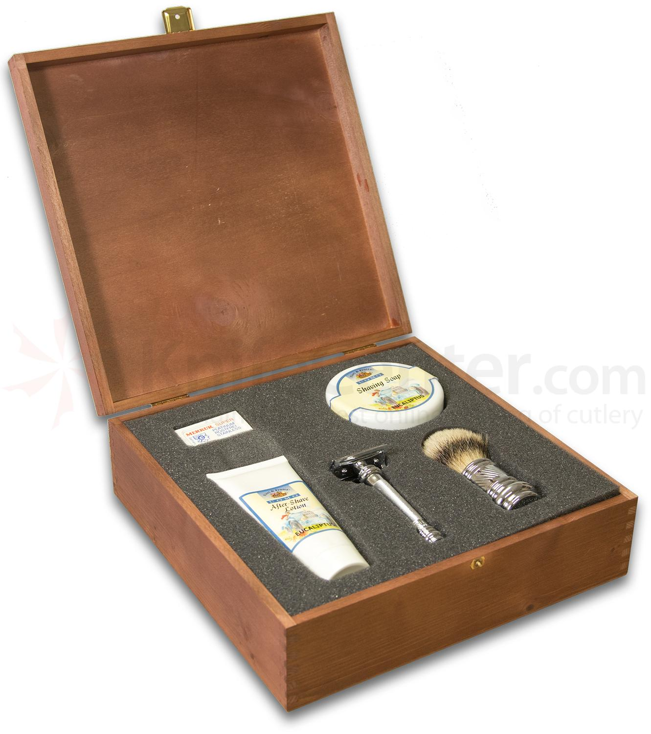 Merkur German Crafted 5 Piece Shaving Gift Set In Wooden Gift Box