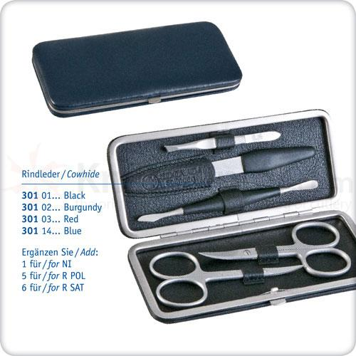 DOVO 5-Piece Manicure Set in Gray Leather Case with Petrol Application