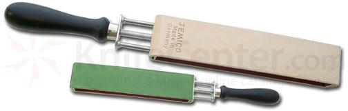 Jemico German Blade Strop Leather on Adjustable Stretcher with Green Sharpening Side and Leather Strop Side
