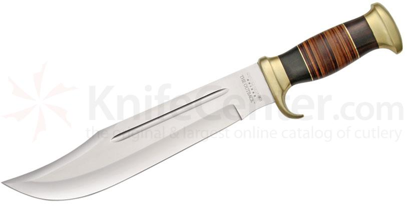 Down Under Knives The Outback Hunting Bowie Knife 11 inch Polished Blade, Leather Handle