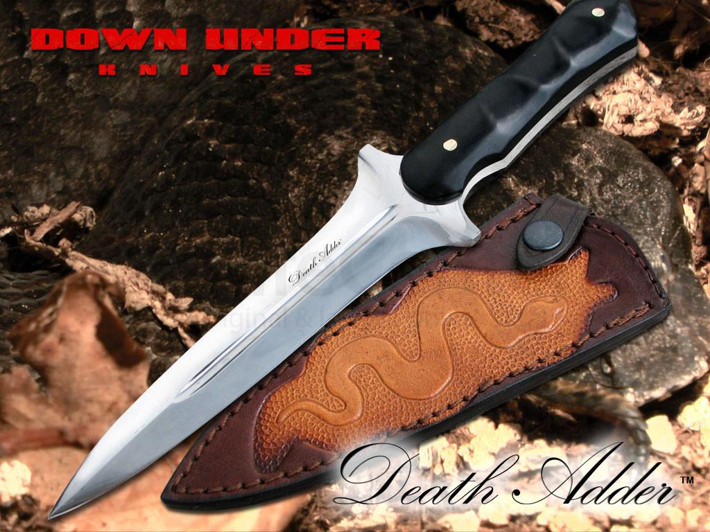 Down Under Knives Death Adder 6 Quot Polished Blade Ebony