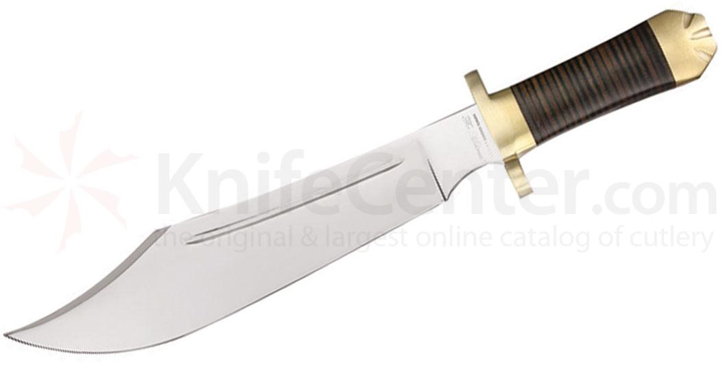 Down Under Knives The Mistress Bowie Hunting Knife 13 inch Polished Blade, Leather Handle