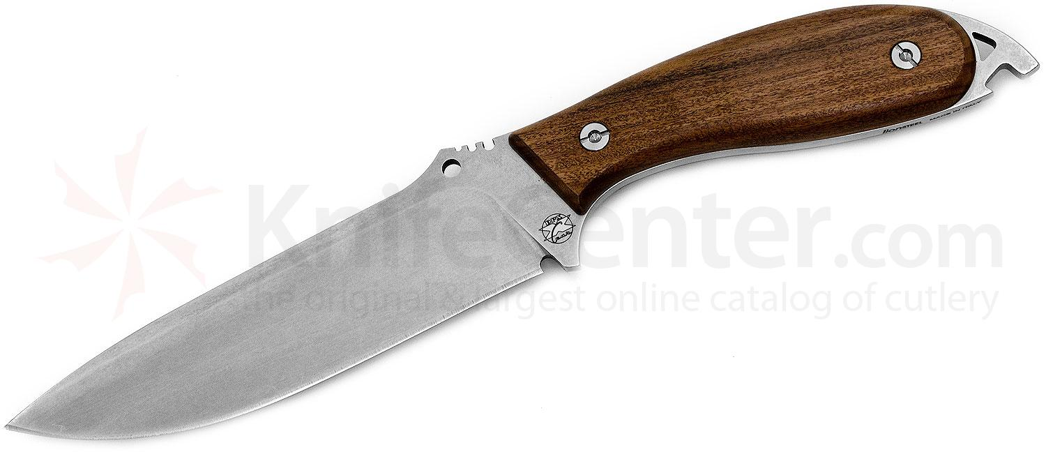DPx Gear HEFT 6 Woodsman Fixed 6 inch Stonewash Blade, Wood Handles, Leather Sheath