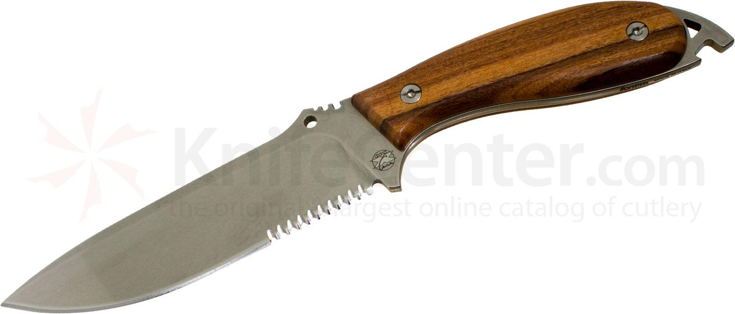DPx Gear HEFT 6 Woodsman Fixed 6 inch Stonewashed Combo Blade, Wood Handles, Leather Sheath Sheath