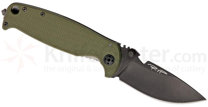 DPx Gear HEST 2.0 Left Handed Folder 3.25 inch D2 Black Plain Blade, Titanium and OD G10 Handles