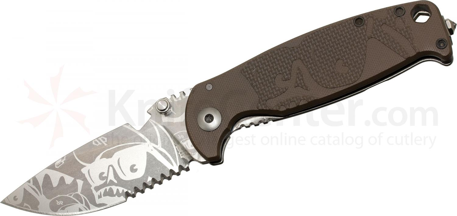 DPx Gear HEST/F Limited Edition Folder Mr. DP Elmax 3.1 inch Combo Blade, Earth Brown G10 and Titanium Handles