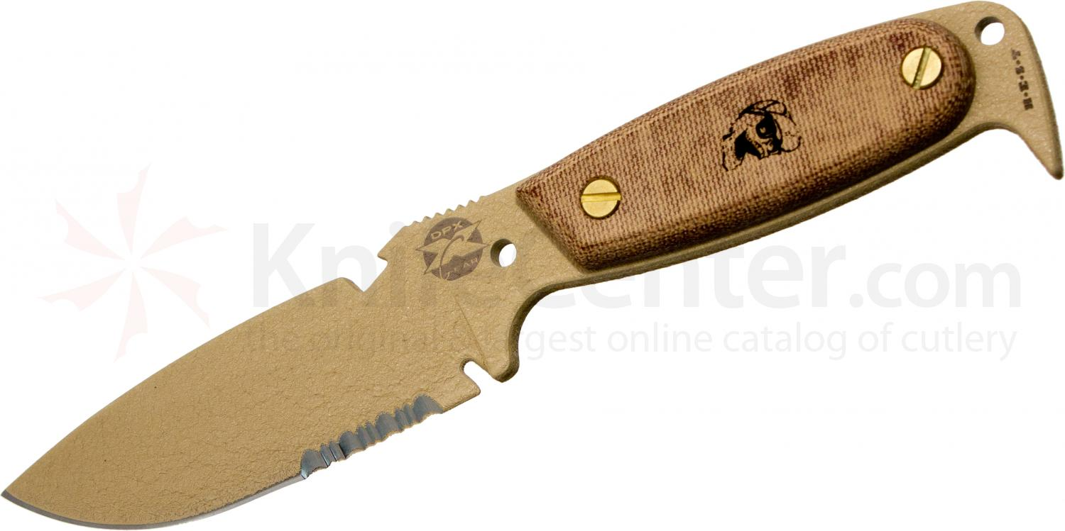 DPx Gear HEST 4 Expedition by OKC Fixed 4 inch Combo Blade, Coyote Tan, Micarta Handles
