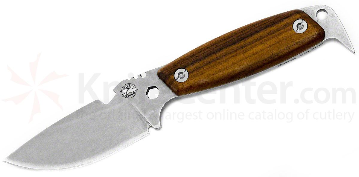 DPx Gear HEST II Woodsman Fixed 3.15 inch Plain Stonewashed Niolox Blade, Hardwood Handles