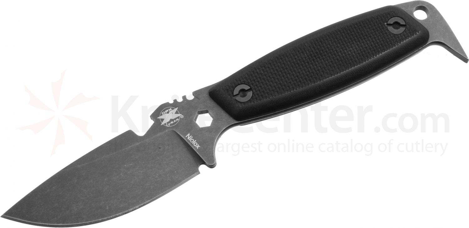 DPx Gear HEST II Assault Stonewashed Fixed 3.15 inch Plain Niolox Blade, Black G10 Handles