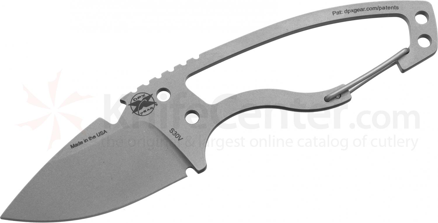DPx Gear HEAT Hiker 2.4 inch S30V Blade, Gray Ceramic Finish, Carabiner, Kydex Sheath