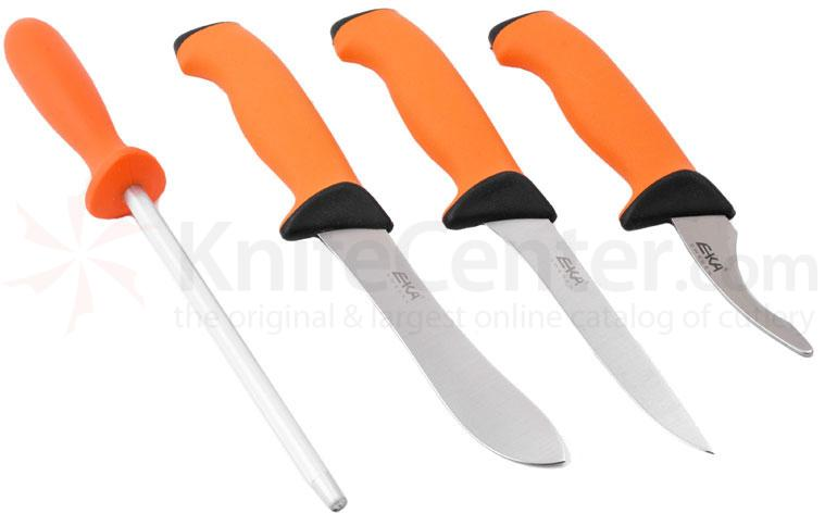 EKA Butcher Set - Skinning, Boning, Gut Hook & Sharpening Steel, Orange Santoprene Handles