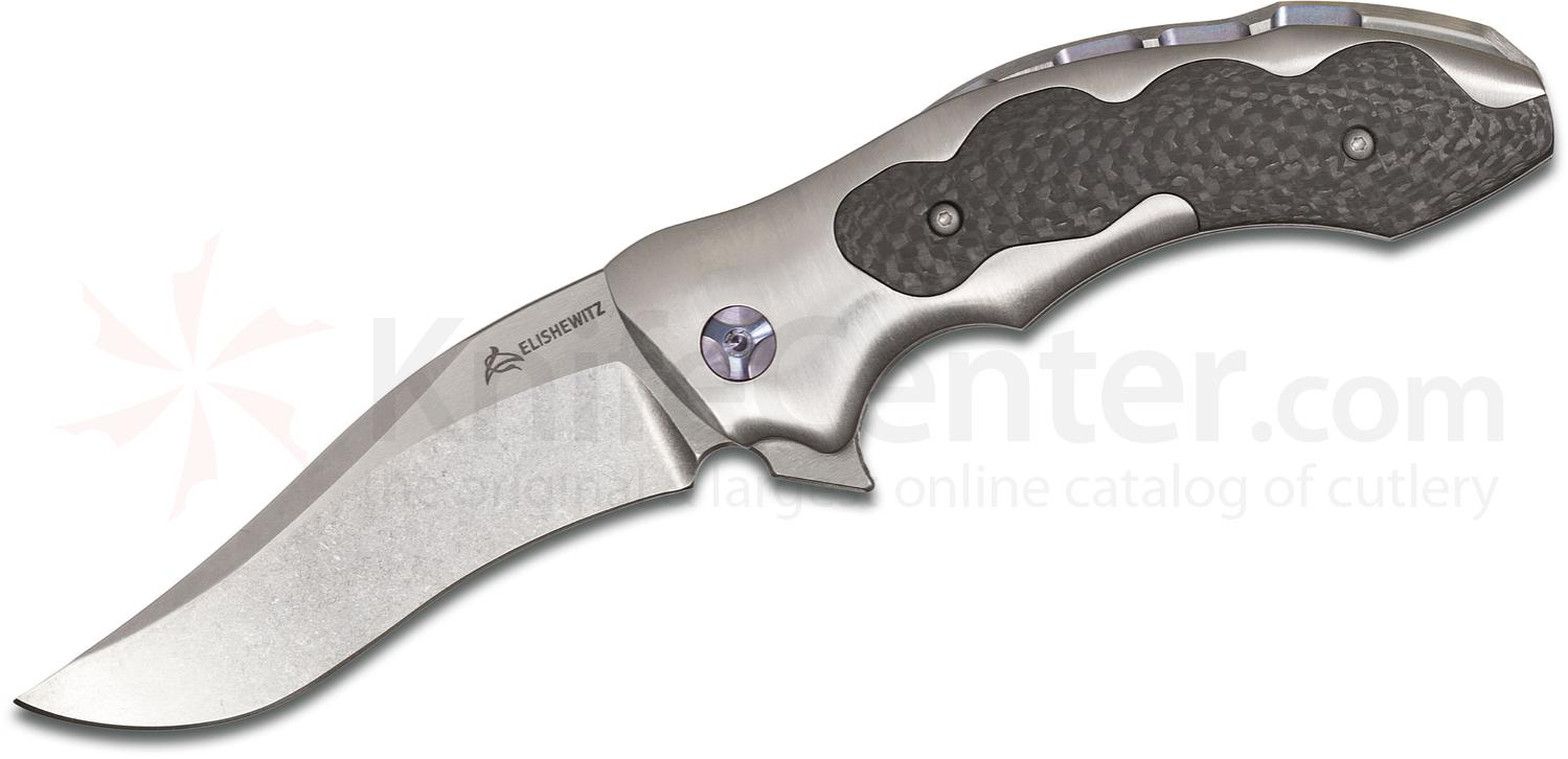 Elishewitz Mid-Tech Persian Flipper 3.75 inch Two-Tone S30V Blade, Titanium Handles with Carbon Fiber Inlays