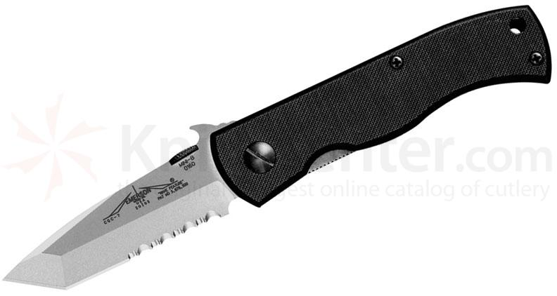 Emerson CQC7B Folding Knife 3.3 inch Stonewash Combo Tanto Blade with Wave, G10 Handles