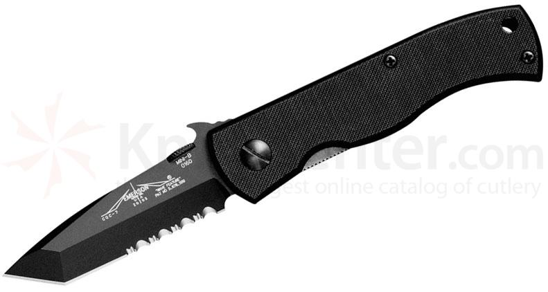 Emerson Mini CQC7B Folding Knife 2.9 inch Black Combo Tanto Blade with Wave, Black G10 Handles