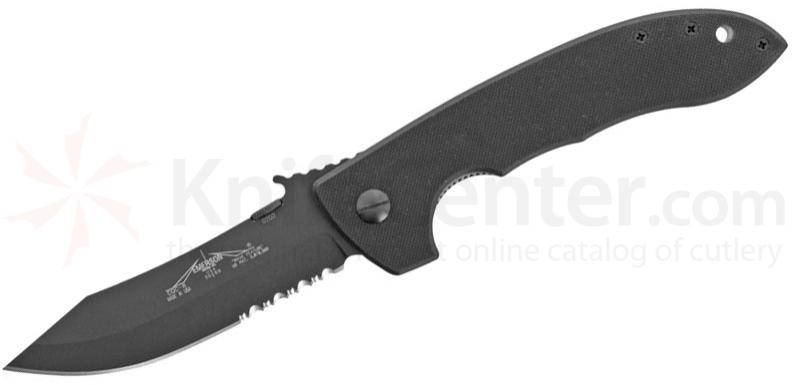 Emerson CQC8 Folding Knife 3.9 inch Black Combo Blade with Wave, G10 Handles