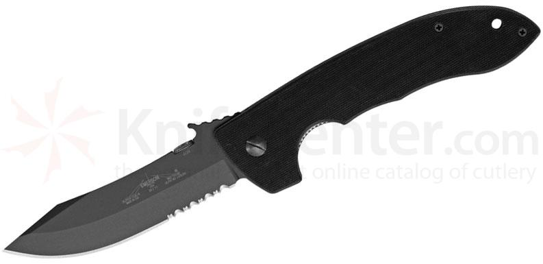 Emerson Super CQC8 Folding Knife 4.3 inch Black Combo Blade with Wave, G10 Handles