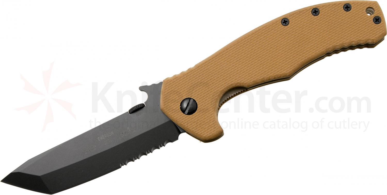 Emerson Roadhouse Folding Knife 3.8 inch Black Combo Tanto Blade, Desert Tan G10 Handles