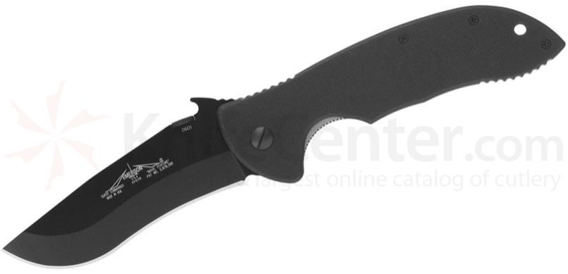 Emerson Super Commander Folding Knife 4 inch Black Plain Blade with Wave, G10 Handles