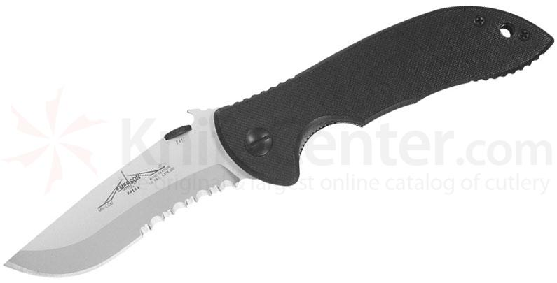 Emerson Mini Commander Folding Knife 3.4 inch Stonewash Combo Blade with Wave, Black G10 Handles